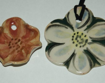 Two Ceramic Flowers Necklace - ON SALE