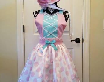 Toy Story inspired Little Bo Peep Skirt-Bodice-Bonnet Set, Little Bo Peep Costume, Cosplay, Little Bo Peep Set, Pioneer, Disneyland Costume