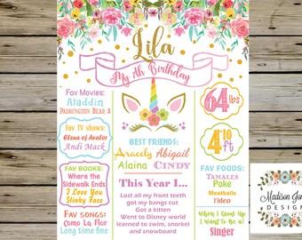 7th Birthday UNICORN BIRTHDAY CHALKBOARD, Girl Unicorn Birthday Party, Girl Unicorn Birthday Poster, Birthday Digital Printable