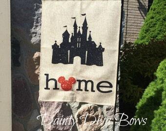 Burlap Garden Flag, Disney Garden Flag, Disney Flag, Burlap Flag, Personalized Garden Flag, Yard Art, New Home Gift, Disney Gift