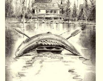 Man lands big Walleye... Funny Pencil Drawing by Barry Singer 8X10 print cottage decor