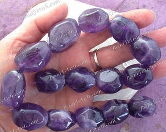 Amethyst Beads, 16 Large ~ 20 to 33mm Natural Amethyst Faceted Tumbled Beads, Semi Precious Stone Beads, Gemstone Beads SEM-020-1