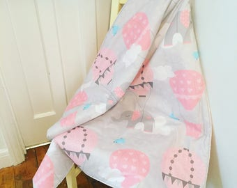 Large Elephants Baby Blanket - Grey Pink - Elephants Clouds and Hot Air Balloons Nursery Decor - Baby Gift - Baby Girl Quilt Cot Bedding