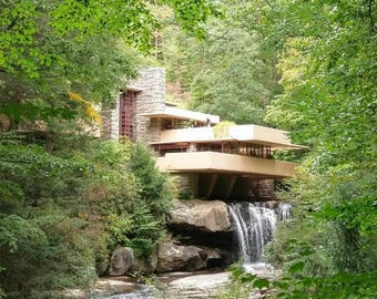 Frank Lloyd Wright Fallingwater Classic View Architecture Nature