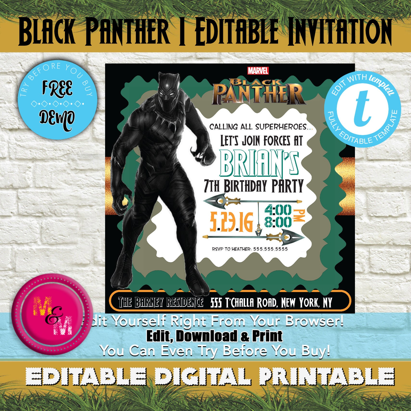 Editable Black Panther Birthday Party Invitation Printable
