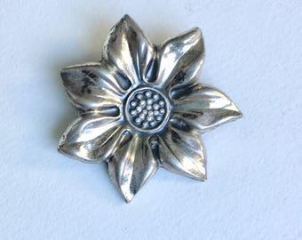 small sterling flower brooch