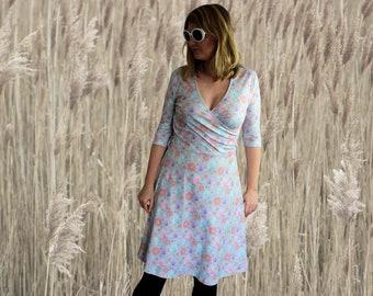 Pastel wrap dress with fairground treats candy floss donuts pattern, novelty print dress various sizes XS S M L XL 2XL 3XL pastel dress
