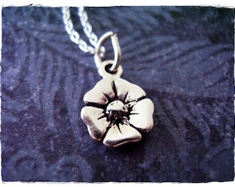Silver Poppy Flower Necklace - Sterling Silver Poppy Flower Charm on a Delicate Sterling Silver Cable Chain or Charm Only