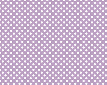 "Lavender Small Dots 1/4"" by Riley Blake Designs - White on Lavender Purple polka dots- Quilting Cotton Fabric - choose your cut"