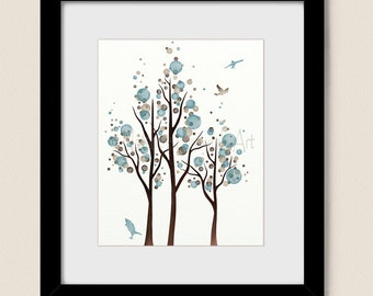 Blue and Brown Polka Dot Tree Art Print, Flying Bird Wall Decor, 8 x 10 Home Decor (239)
