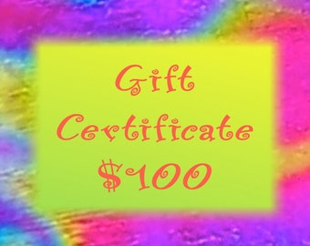 Gift Certificate - 100 Dollars - Dichroic Fused Glass Jewelry & Gifts -- Hayden Brook Studios