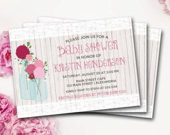 Mason Jar Baby Shower Invitation, Rustic Baby Shower Invitation, Flower Baby Shower Invitation, Rustic Shower Invite, DIY Printable