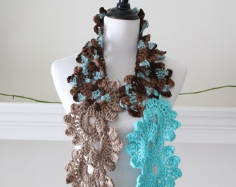 Crocheted Brown, Turquoise, Auua Neckwarmer, Scarf