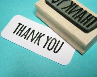 Thank You Sentiment Text Rubber Stamp - Thanks Stamper - Skinny Font - Card Making - Scrapbooking - Thanksgiving - Thank You Gift