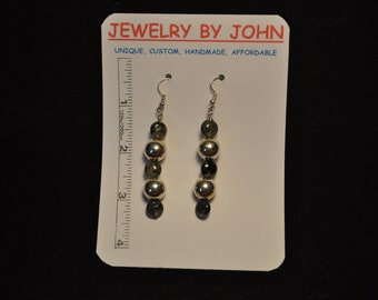 Medium Silver Balls with Tiger Eye Beads on Ear Wires