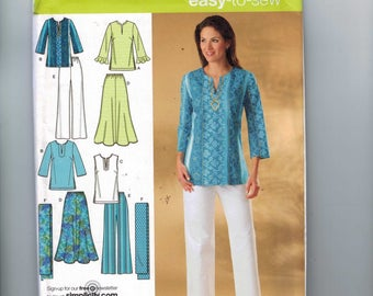 Womens Sewing Pattern Simplicity 4149 Tunic Top Skirt Pants Plus Size 10-18 or 20-28W UNCUT