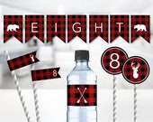 Great To Be Eight Baptism Party Package -- Buffalo Plaid, Lumberjack, LDS, Banner, Toppers, Flags, Bottle Wraps, Printable, Instant Download
