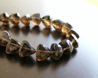 Smoky Quartz Briolette Gemstone Faceted Trillion Cut 8.5 to 9mm 12 beads