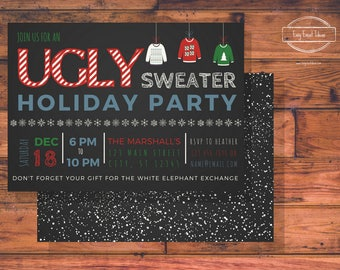 Personalized & Customizable Ugly Sweater Holiday Party Invitation W/Free Back