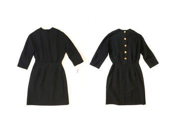 60s Mod Dress // 1960s Black Dress //small