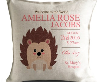 Charmant Personalised New Baby Cushion Pillow Cover   Christening Gift   Home Decor  Decoration   Cartoon Hedgehog