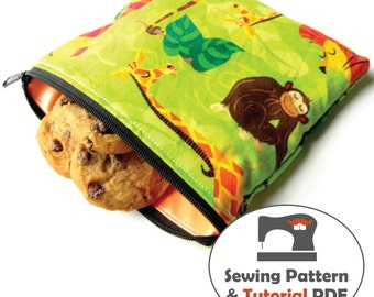 Zippered Snack Bags, and Wet Bag- 4 Sizes - Instant Download Sewing Patterns and Tutorial