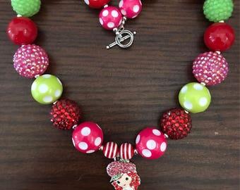 Strawberry Shortcake inspired Bubble Gum Necklace (Child/Toddler).