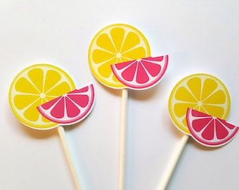 Lemonade Party Cupcake Toppers - Lemon Slices Cupcake Toppers - Lemonade Birthday Party