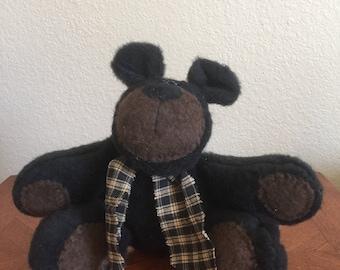 Handcrafted Decorative Plush Floppy Bear - Black