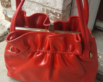 Vintage Shiny Red Ruffle Purse Handbag 1960s