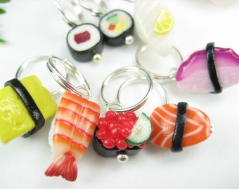 Sushi Stitch markers - Set of 8 - knitting stitch markers, gift for knitters knitting accessories knitting gift charms polymer clay Japanese