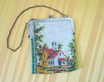 Vintage 1920s Beautiful Glass Beaded Scenic Flapper Purse marked Germany
