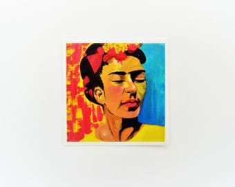 Frida Kahlo Art Sticker, Colorful Collectible Print