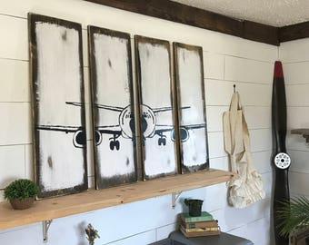 Airplane Decor - Pilot Gift - Aviation - Airplane Nursery Decor - Rustic Wall Decor- Airplane Art - Gift for Pilots- Travel Theme Decor