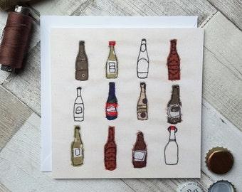 Printed Bottles Greetings Card Blank Inside