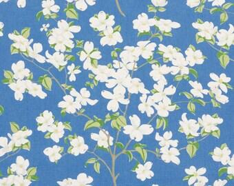 SCHUMACHER DOGWOOD BLOSSOM Branches Linen Fabric 10 yards Blue Green Multi