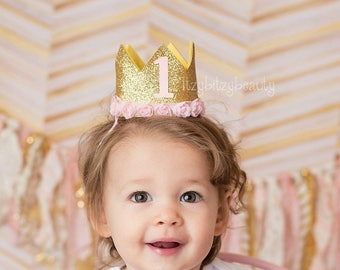 First Birthday Crown - Girls Gold Crown - Birthday Crown - Pink And Gold Glitter Crown - Number Party Hat - Flowers - Headband -  Cake Smash