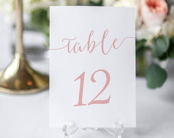 Blush Table Number Printable Cards - Tables 1-30 - Framable blush pink Table Cards - Wedding - Instant Download - 5 x 7 inches - #GD1106