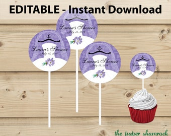 Bridal Shower Party Decoration, Cupcake Topper Template, Personalized Cupcake Pick, Printable Party Supply - Wedding Dress - Purple