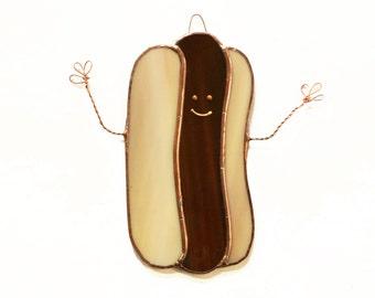 Hotdog Stained Glass Suncatcher, Hotdog Suncatcher, Hotdog Gift, Funny Gift