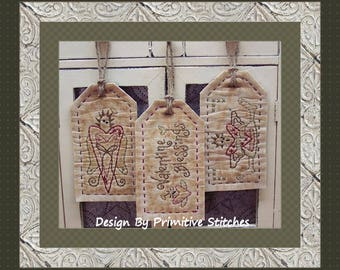 Valentine Blessings Tag Collection-Primitive Stitchery-E-PATTERN by Primitive Stitches-Instant Download