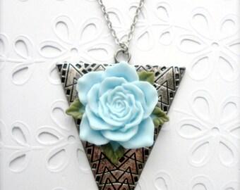 Teal Rose Arrow Necklace,  Arrow Head Necklace, Arrow Pendant, Blue Rose Antique Silver Arrow Pendant, Bridesmaid Gift, Wedding Jewelry