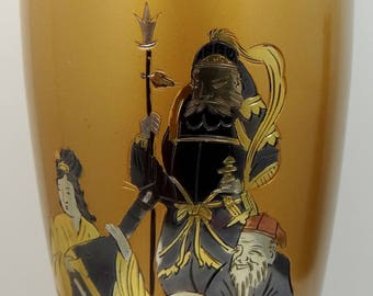Gorgeous Inlaid Mixed Metals Gold, Brass, Copper & Silver Asian Vase