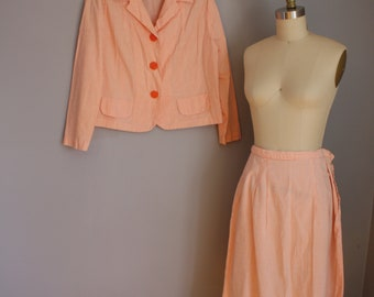 1950's Melon Striped Suit // Jacket and Skirt Two Piece // Large
