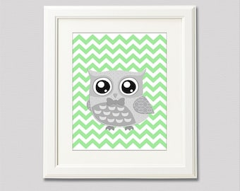 Grey and green owl nursery Art Print - 8x10 - Children wall art, Baby Room Decor, chevron - UNFRAMED