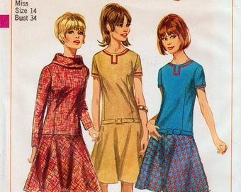 """Drop Waist Dress 1960s Dress Pattern Mod Dress Pattern Circular Skirt SIMPLICITY 6674 UNCUT bust 34"""" Rolled Collar Dress Retro Dress Pattern"""