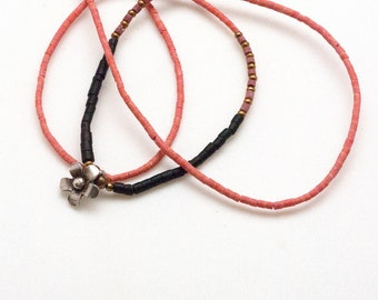 Dainty Seed Beads Thin Necklace, Sterling Silver Flower Charm, Coral and Black Onyx Gemstone Necklace, Minimalist Necklace, Flower Jewelry