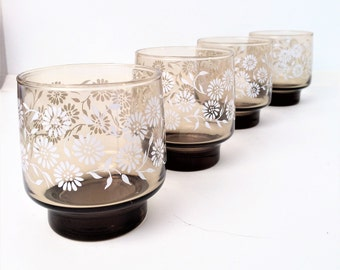 Daisy Glasses,Brown Tumblers juice glasses, Libbey set of 4