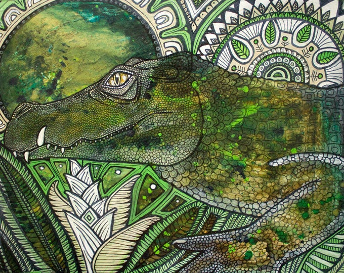 Original Caiman / Alligator / Crocodile  Painting by Lynnette Shelley