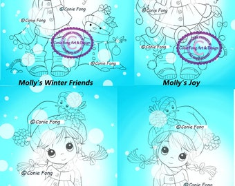 Digital Stamp, Digi Stamp, digistamp, 4 images Molly Winter Bundle Conie Fong, Christmas, Winter, snowman, Joy, coloring page, children
